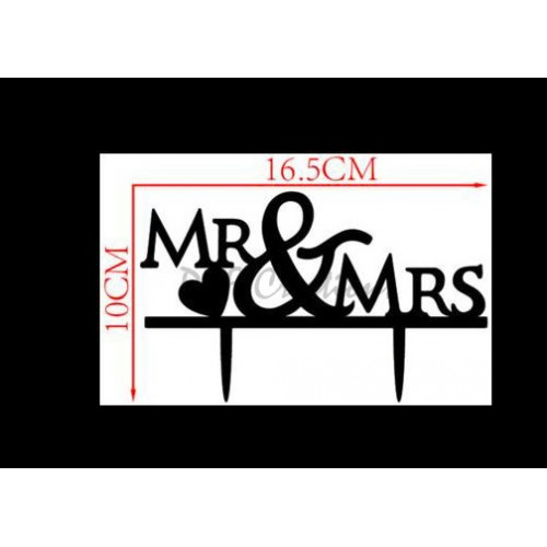 Mr and Mrs With Heart Cake Topper