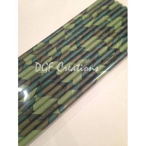 Army Green Print Paper Straw
