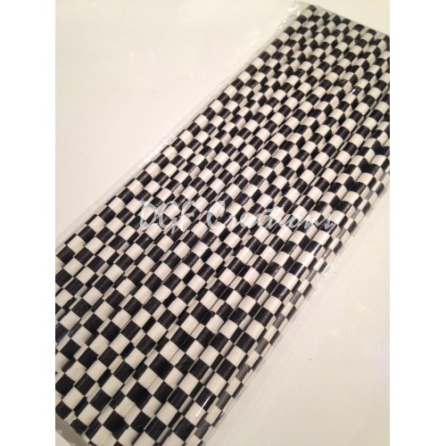Checkered Black Pattern  Paper Straw click on image to view different color option