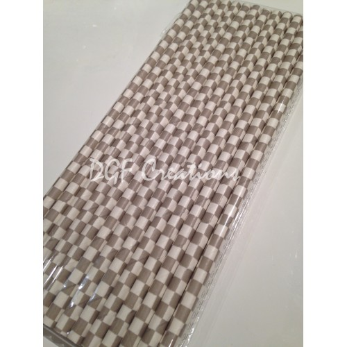 Checkered Grey Pattern  Paper Straw click on image to view different color option