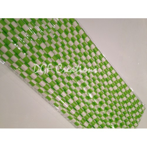 Checkered Lime Pattern  Paper Straw click on image to view different color option
