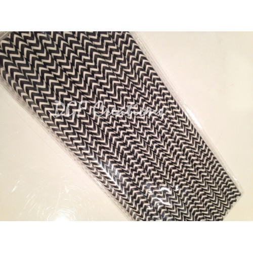 Chevron Black Pattern  Paper Straw click on image to view different color option