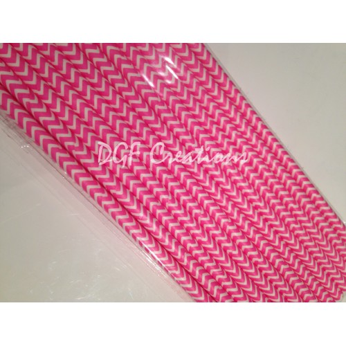 Chevron Fuschia Pattern  Paper Straw click on image to view different color option