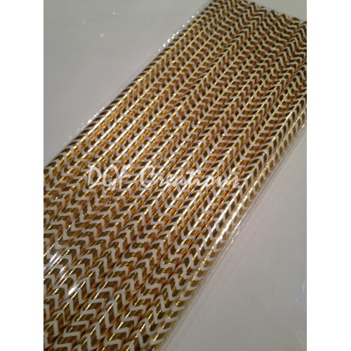 Chevron Gold Pattern  Paper Straw click on image to view different color option