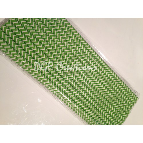 Chevron Green Pattern  Paper Straw click on image to view different color option
