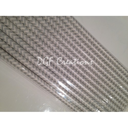 Chevron Grey Pattern  Paper Straw click on image to view different color option