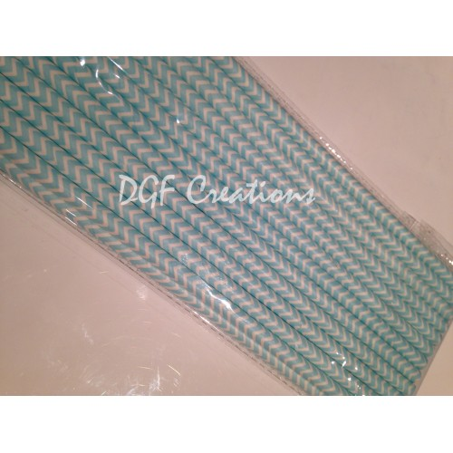 Chevron Light Blue Pattern  Paper Straw click on image to view different color option