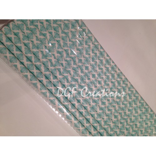 Damask Aqua Pattern  Paper Straw click on image to view different color option