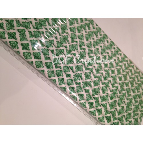 Damask Green Pattern  Paper Straw click on image to view different color option