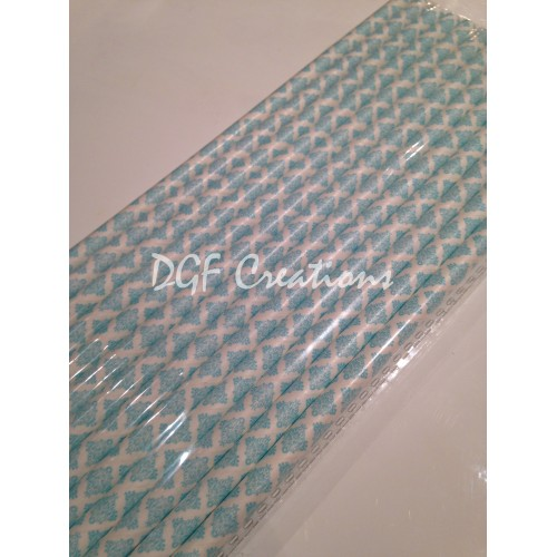 Damask Light Blue Pattern  Paper Straw click on image to view different color option