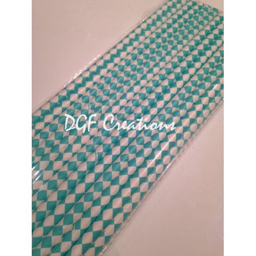 Checkered Aqua Pattern  Paper Straw click on image to view different color option