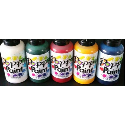 Poppy Paint Primary Colors Set White, Yellow, Green, Red, Blue